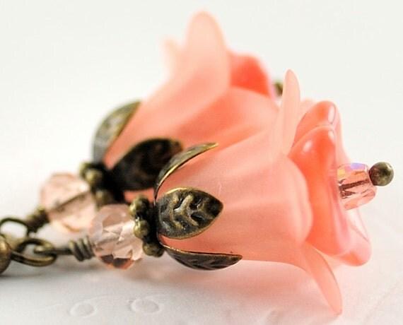 Dangle Earrings Drop Earrings Bead Jewelry . Peach Flower Earrings . Italy Earrings in Misty Peach
