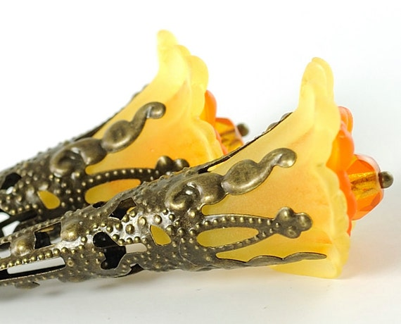Long Earrings Beaded Flower Earrings with Yellow and Orange Iris Flowers . Spring Jewelry. Spain Earrings in Yellow and Orange