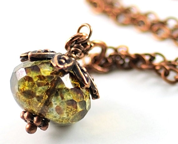 Glass Jewelry. Green Necklace. Faceted Moss Green Brown with Copper Luster Czech Rondelle Necklace. Denmark Necklace in Moss Green Brown