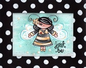 JUST BE - whirleygirl original painting & hand painted mat