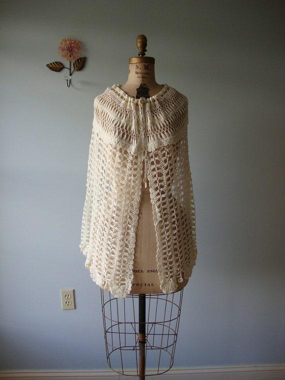 hand knit  cape bed jacket shawl