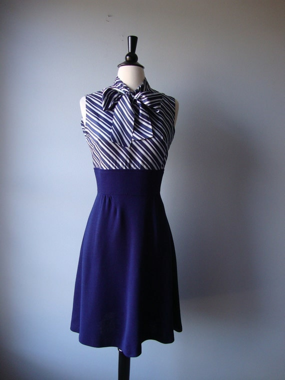 Vintage 70's Blue And White Striped Dress // Ascot tie