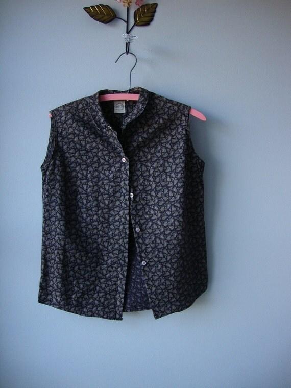 vintage 1950s blouse // black paisley cotton blouse