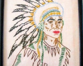 vintage retro Indian Chief hand embroidered