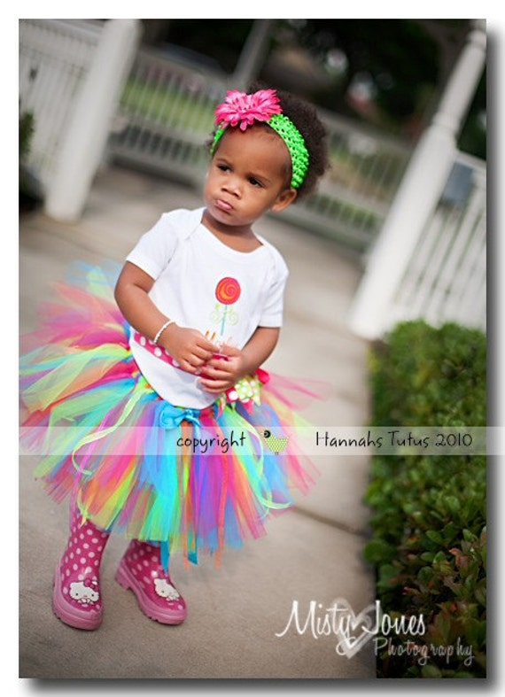 Lollipop Bash Birthday Tutu 19 waist 9 length READY2SHIP fits most 2 to 3 yr olds Candyland Birthday