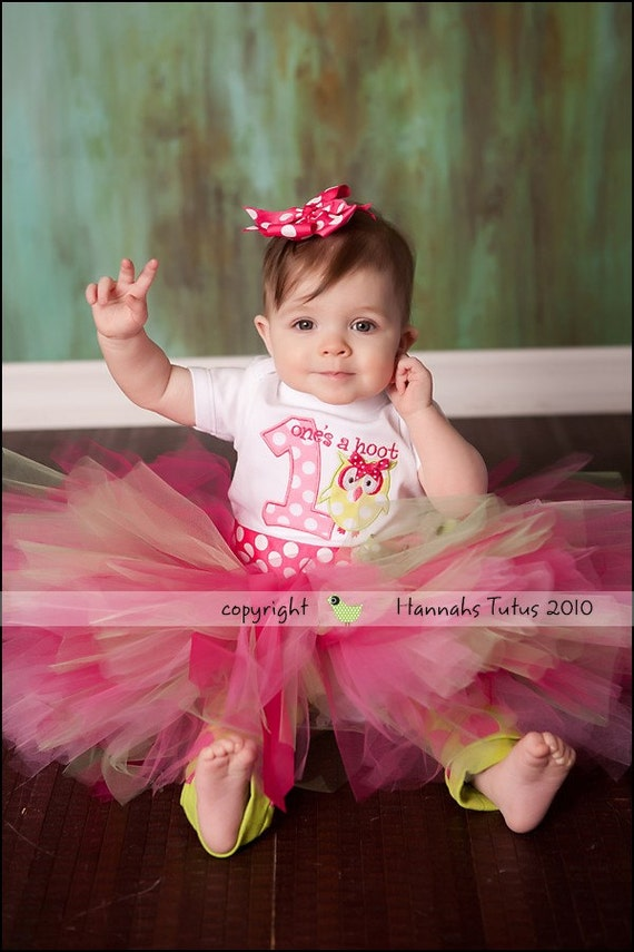 Birthday Tutu Margo HOOTS 1st 2nd Birthday Girl READY2SHIP 18 waist 9 length fits most 1 to 2 yr olds Pinks Greens