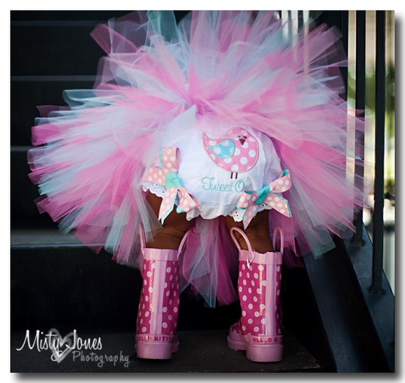 SALE Twitter Birthday Girl Tutu Pinks Aqua READY2SHIP fits most 6 to 12 mth 1st Birthday 17 waist 8 length