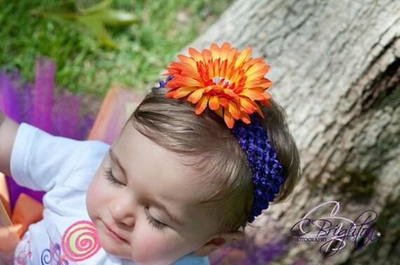 Headband Orange Gerber Daisy on Purple Crochet Headband Newborn Baby thru Toddler Photo Shoot Birthday Newborn Photo
