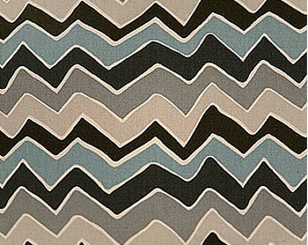Clearance Chevron Fabric Premier Prints Fabric SeeSaw Chevron in Blue, Gray and Tan - One Yard - Village Blue