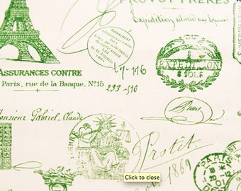 Premier Prints Home Decorating Fabric Green French Stamp Paris Script on Natural - One Yard - Green Fabric