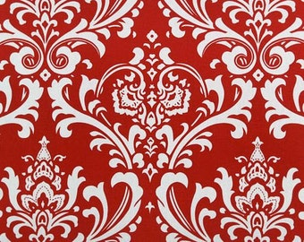 Red Damask Home Dec Fabric Premier Prints Fabric Osborne in Lipstick Red on White - One Yards