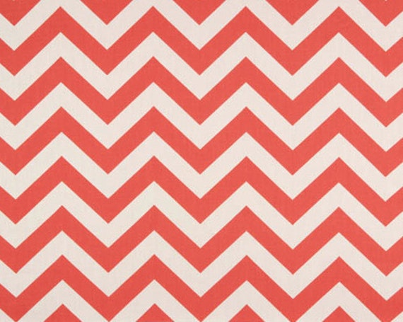 Chevron Fabric Premier Prints Fabric Zig Zag Chevron in Coral and White - Two Yards