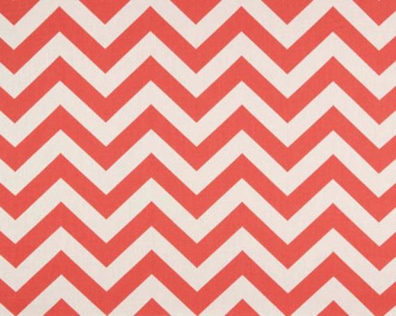 Chevron Fabric Premier Prints Fabric Zig Zag Chevron in Coral and White - One Yard