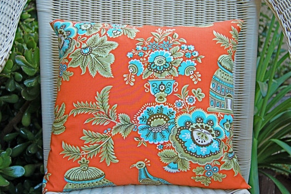 Pair of Decorative Toss Pillow Covers - 16 Inches - Amy Butler Belle Royal Garden Orange Fabric