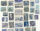 Vintage Worldwide Blue Stamps for Art, ATC's, Collage
