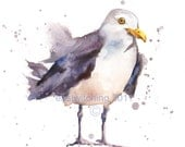 watercolor seagull print, beach house art, 8x10 print, ready to frame, seagull painting