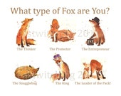 Watercolor Fox Print, fox, 8x10 print, ready to frame, coworker gift