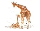 Nursery Giraffe Print,SMALL  giraffe print, Mother and baby giraffe, new mom gift,watercolor animals