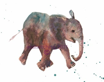 Elephant Print 8x10, baby room art, nursery animal art, elephant prints for nursery