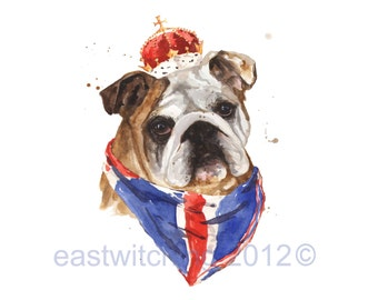 British Gifts - English Bulldog Print, British Bulldog, bulldog art, red white blue, union jack, great britain