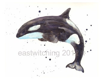 nautical animals, KILLER WHALE print, Sealife Painting, Ocean Lover Gift