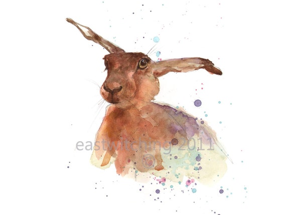 HARE, springtime, Print 8x10 inches, funny animal art, hare painting, watercolour hare,