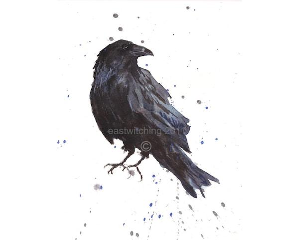 Raven Art, Raven Print, Bird Lover, raven, bird art, Hitchcock fan, dorm decor, constellation