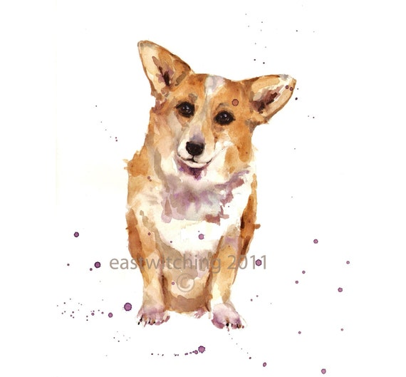 Puppy art, CORGI print, corgi, dog portrait, dog lover gift