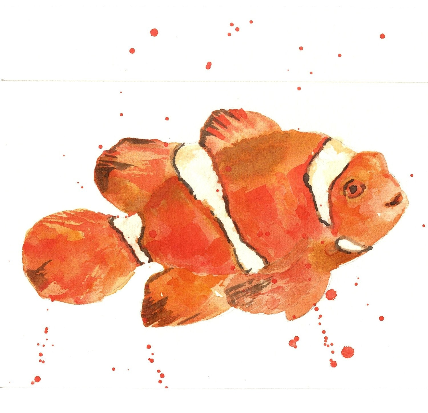 Unavailable listing on etsy for Watercolor fish painting