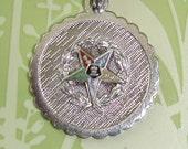Vintage Sterling Silver Estate EASTERN STAR ENAMELED Charm Pendant