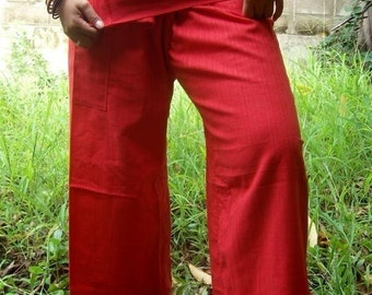 Striped RED Cotton THAI Fisherman Wrap Pants PERFECT for All Size