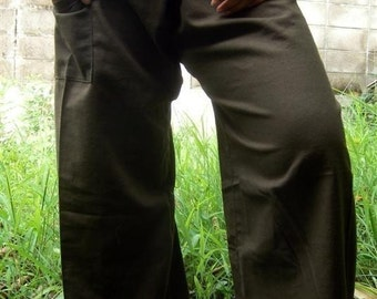 Cool GreEn Cotton THAI Fisherman Wrap Pants Perfect for All Size