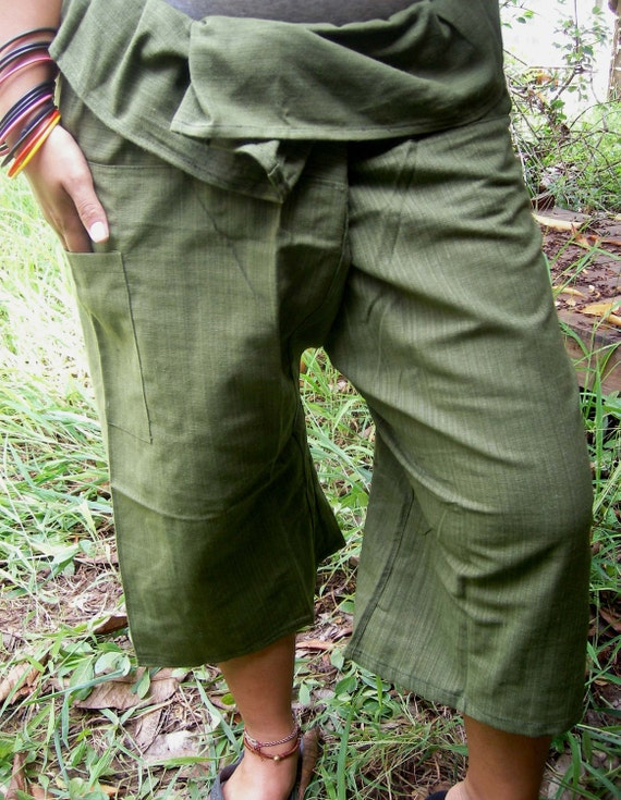 Striped Jungle Green CoTToN THAI Fisherman Wrap Pants PERFECT for All SIZE ......3/4 Length