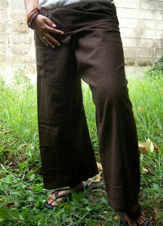 BrOwn  COTTON Fisherman Wrap Pants PERFECT for ALL SIZE