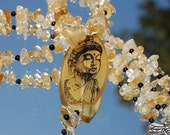 Golden Yellow Resin Buddha Bead and Citrine Chip Necklace