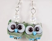Green Owl Lampwork Bead Earrings