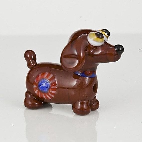 Yankee Doodle Doxie Dog Lampwork Bead