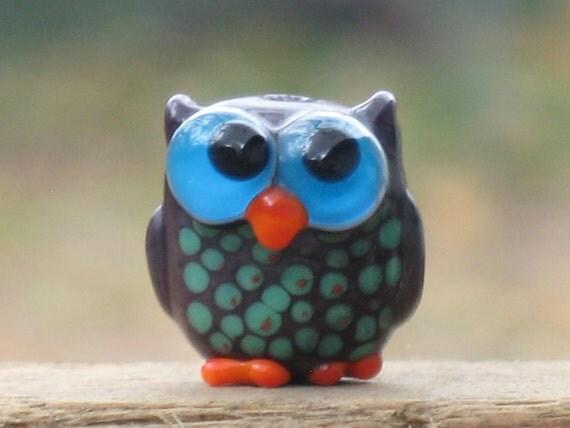 Nuncio the Purple Owl Lampwork Bead
