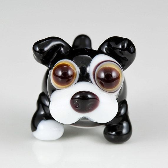 Black White Dog Lampwork Glass Bead