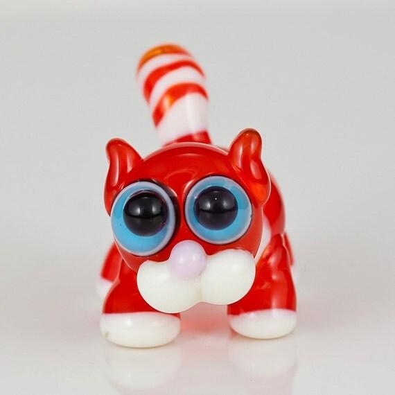 Orange Tabby Cat Lampwork Glass Bead