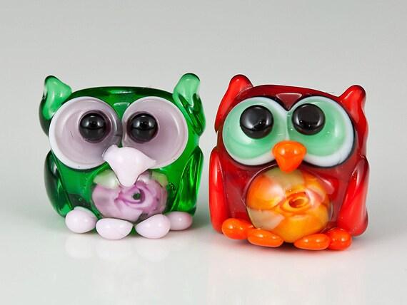 Mini Rose Murrini Owls Lampwork Beads - red green