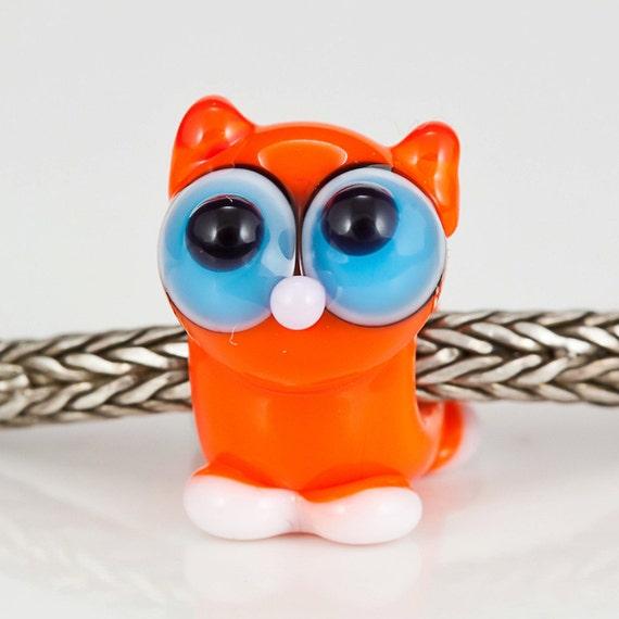 Orange Tabby Cat Lampwork Big Hole Bead Bead