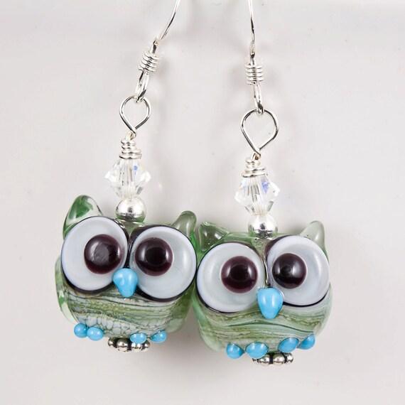 Green Owl Lampwork Bead Earrings