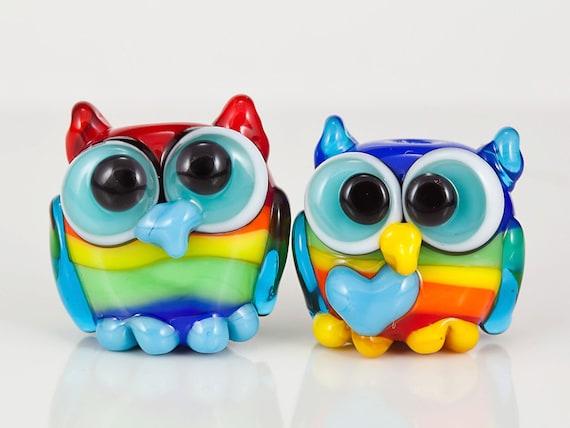 Rainbow Owl Pair Lampwork Glass Beads