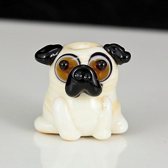 Pug Lampwork Glass Dog Bead