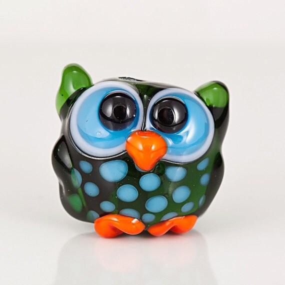 Green Turquoise Orange Owl Lampwork Bead