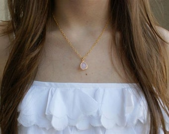 Thin Gold Necklace, Small Pendant, Pink
