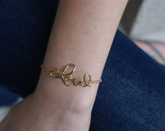 Cursive Love Bracelet, Cursive Writing,  Love Letters