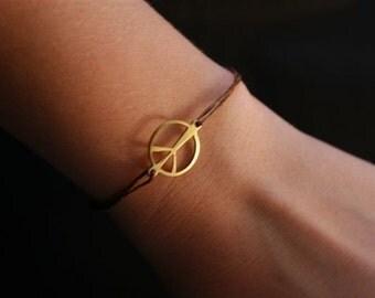 Peace Bracelet, Cord Bracelet, Peace Sign Bracelet, Thin Bracelet