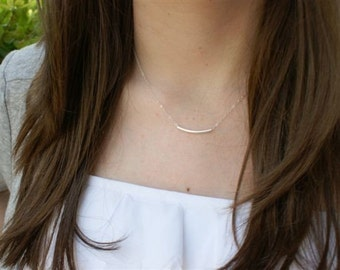 Silver Bar Necklace, Silver Tube Necklace, Thin Silver Necklace